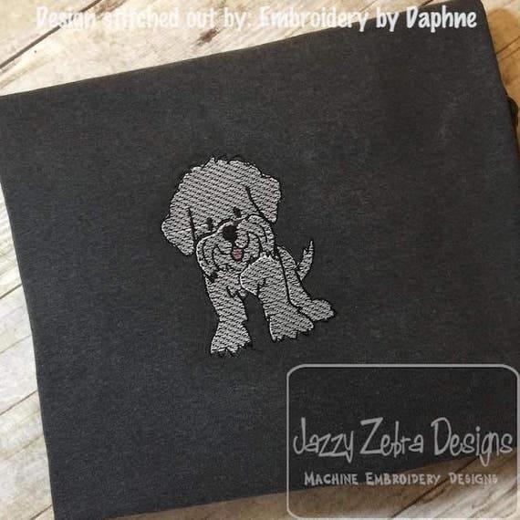 Maltese sketch embroidery design - dog sketch embroidery design - dog embroidery design - Maltese embroidery design - puppy embroidery