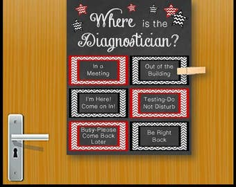 Diagnostician Office Gift, Printable Door Sign, Diagnostician Week, Appreciation Gift, Where is the Diagnostician? Poster Print