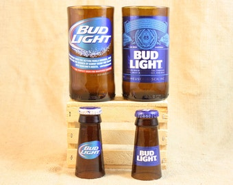Unique Gift Set Upcycled from Bud Light Beer Bottles, Shot Glass, Drinking Glass, Upcycled Beer Bottle, Unique Glassware