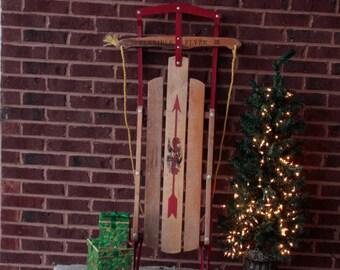 Flexible Flyer III Wooden Sled Vintage Nostalgic Holiday Decor