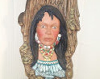Wood Carved Indian Maiden