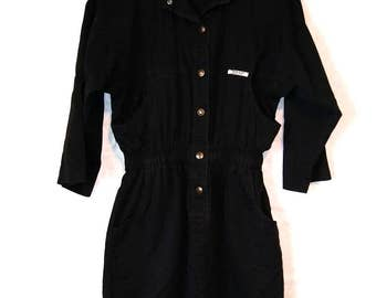 Vintage, Black Denim Dress