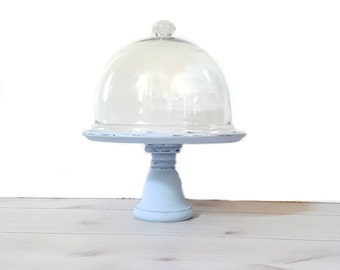 Cake Stand ~ Large Glass Dome / Painted Wood Pedestal In Chalky Blue ~ Mirrored Cupcake / Cake/ Dessert Stand