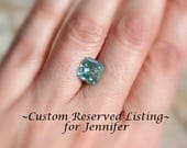 Custom Reserved Listing for Jennifer ~ Custom 2.89ct Blue Moissanite and French Lace Diamond Eternity Band, Size 8