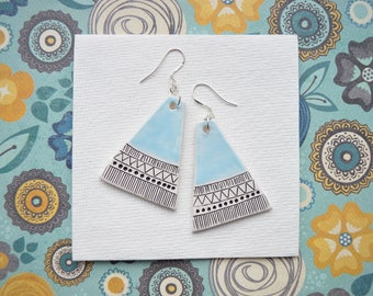 Gift for daughter, ceramic earrings on sterling silver hooks, contemporary statement jewellery with carved geometric pattern
