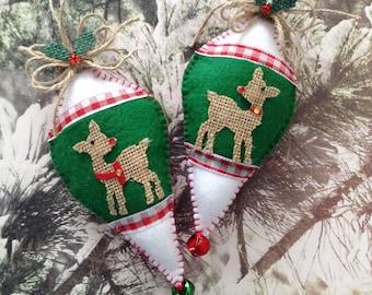Reindeer Christmas Ornaments / Xmas Felt Ornaments / Christmas Ornaments / Set of 2 / Felt - Burlap Reindeer Xmas Decoration / Handmade