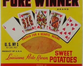 Pure Winner Sweet Potatoes Crate Label Opelousas Sweet Potato Co. Sunset, Louisiana