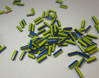 Vintage Glass Striped Bugle Beads