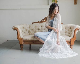 White Lace Bridal Robe with Tulle Peek-a-Boo - Wedding Robe - Bridal Lingerie - Gift for Bride - Wedding Gift