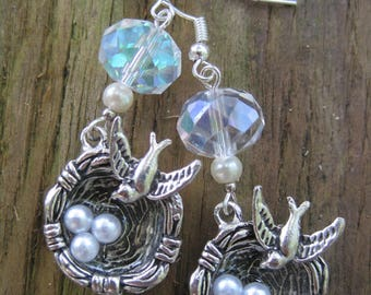 Silver Sparrow's Nest with Pearl Eggs Dangle Earrings