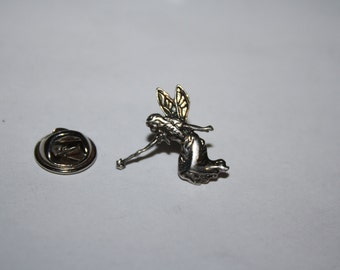 Vintage Sterling Silver Fairy Pin Gold wings