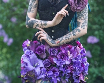 Purple floral skirt, made of flowers, romantic, fantasy, spring