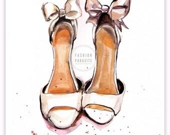 Custom Bridal Shoe Illustration,Original Bridal Shoe Portrait,Custom Accessories Sketch,Watercolor Shoe Sketch,Surprise Gift,Wedding Art