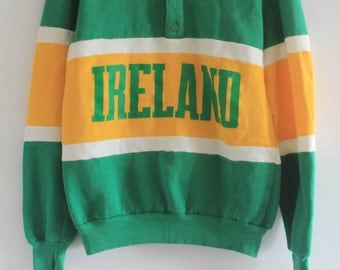 80's Vintage Green and Yellow Colorblock 'IRELAND' Collared Pullover Sweatshirt