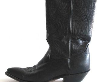 Perfect 90's Vintage Black Leather 'Code West' Women's Western Durango Boots