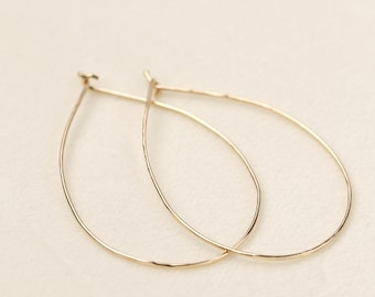 Solid 14k gold hammered textured hoop earrings, 0.75mm wire, classic gold hoops, medium 14k rose, white, yellow gold, gol-e101-12cm, RTS