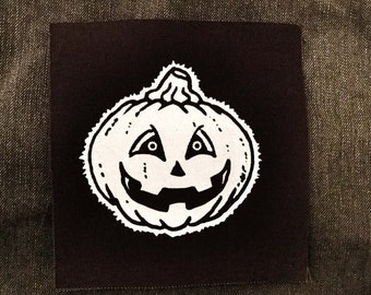 Halloween Pumpkin Patch - retro / vintage inspired hallowe'en jackolantern screenprinted cloth punk patch