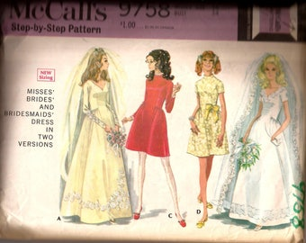Vintage 1960s Brides and Bridesmaid Dress in Short and Long Vintage Pattern / McCalls 9758 / Size 12 Bust 34 / Wedding Dress Pattern
