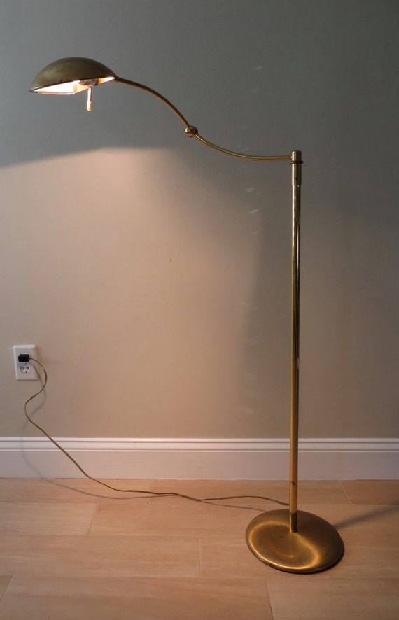 mid century holtkoetter brass floor lamp adjustable pharmacy. Black Bedroom Furniture Sets. Home Design Ideas