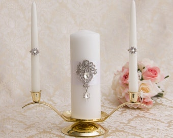 Wedding Unity Candle Set Bling Unity Candle White Wedding Candle Unity Candle Bling Unity Candle Color & Ribbon Color Choice