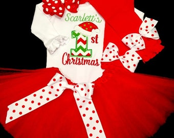 Baby Girl Christmas Outfit, Girl First Christmas Outfit, Girl 1st Christmas Outfit, Girl My First Christmas Outfit, Christmas Tutu Set