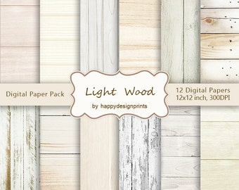 """Light Shabby Old Wood Board Digital Paper Pack of 12, 300 dpi, 12""""x12"""" Instant Download Pattern Paper Scrapbooking, Invites, Cards JPG"""