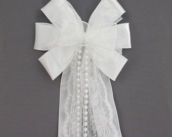 White Sheer Lace Pearl Purple Wedding Pew Bow - Wedding Ceremony Bow, White Wedding Decorations