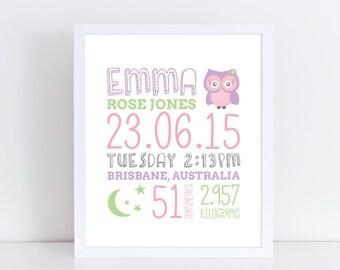 Baby birth print / Baby birth stats print / Birth details print / Owl print / Nursery decor / Nursery wall art / Girl nursery art