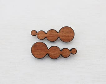 Wooden Ear Climbers - Sterling Silver  Contour Posts - Ear Crawler - Sterling Silver Ear Climbers - Laser Cut Cherry - Silver Ear Jacket