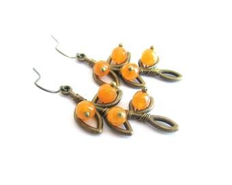 Branch earrings, agate dangle earrings, yellow stone earrings, leaf branch earrings, twigs earrings, yellow branch earrings, italian jewelry