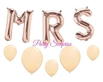 "MRS Rose Gold Balloons 13.5"" Wedding Bridal Shower Engagement Rehearsal Dinner MRS balloon Garland Foil Air Filled Reusable Bride Balloon"