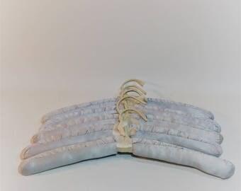 Vintage Padded Hangers, Light Blue, Set of 5