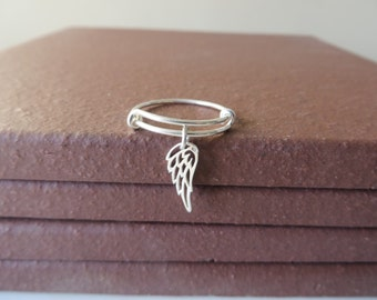Bangle Ring Expandable Sterling Silver Angel Wing Ring