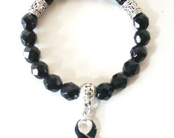Black Awareness Ribbon Infinity Beaded Stretch Bracelet Melanoma Skin Cancer