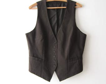 Vintage Women's Vest Extra Large Size Brown Vest Brown Striped Waistcoat Fitted Steampunk Everyday Vest