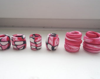 Pink and Black Dreadlock Beads