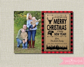 Lumberjack Christmas Card, Photo Christmas Card, Rustic, Buffalo Plaid, Rustic Christmas Card, Lumberjack Holiday Card, Red Plaid, Christmas
