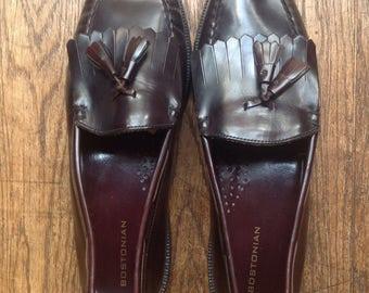 Vintage oxblood leather Bostonian penny kiltie tassel loafers slip on shoes US size 11.5 Ivy League style mod