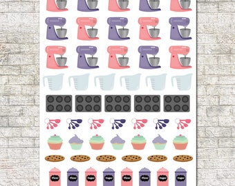 Baking Stickers ~ Mixer, Muffin Pan, Measuring Cup, Measuring Spoons, Cupcakes, Cookie, Flour, Sugar
