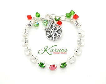 SNOW COVERED CHERRIES 8mm Crystal Chaton Bracelet Made With Swarovski Elements *Pick Your Finish *Karnas Design Studio *Free Shipping*
