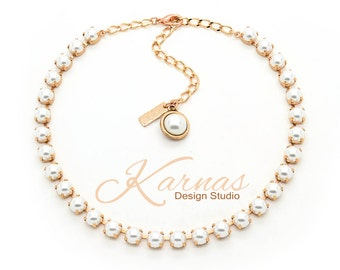 CRYSTAL WHITE PEARL 8mm Necklace Made With Swarovski Elements *Pick Your Finish *Karnas Design Studio *Free Shipping*