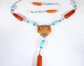 Vintage Jade, Carnelian and Amazonite Silver Necklace and Earrings Set