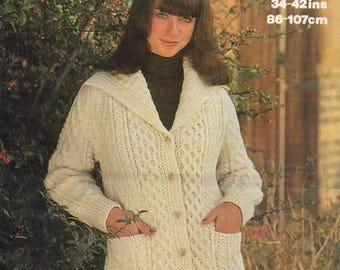 Lady's Aran Jacket, Marriner 1697 Original Vintage Knitting Pattern.