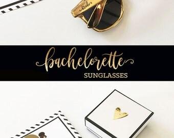 Bride Tribe Sunglasses -Metallic Gold Sunglasses-Bachelorette Sunglasses - Bachelorette Party Sunglasses - Bridesmaid Sunglasses (EB3181TRB)