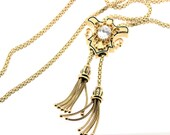 14K Gold Slide Enamel Pendant with chain Necklace