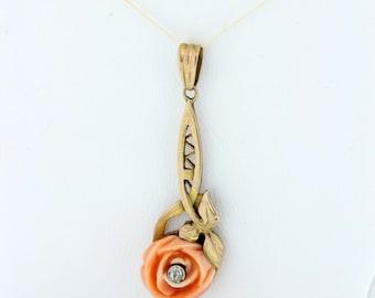 14K Rose Gold Coral Pendant