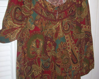 Peasant Blouse XL, Vintage Ralph Lauren Blousy Blouse ! 100% Cotton  Gathered Paisley Peasant Style for Fall Size XL