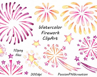 Watercolor Firework Clipart, PNG, digital watercolor, clip art, instant download, transparent background, For Personal and Commercial use