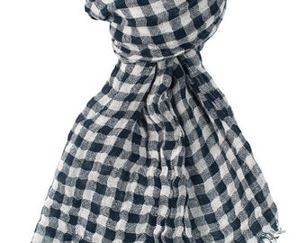 Blue checked 100% linen scarf, blue linen scarf, flax scarf, spring scarf, linen shawl, blue shawl, linen wrap, blue scarf, unisex scarf