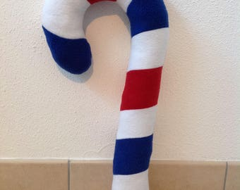 White, Red and Blue Striped Candy Cane Fleece Plush Fursuit Prop